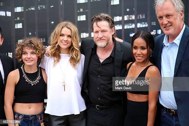 Actors Robin Lord Taylor Camren Bicondova Erin Richards Donal Logue Jada Pinkett Smith and writer/producer Bruno Heller attend 'Gotham' Zip Line...