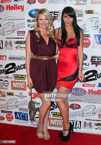 Actors Robin Phelps and Lexy Panterra attend the Born 2 Race Los Angeles premiere at Grauman's Chinese Theatre on February 28 2012 in Hollywood...