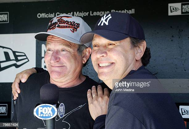 Actors Robin Williams and Billy Crystal enjoy themselves while taping a promotional TV spot for FOX Sports before the San Francisco Giants 13inning...