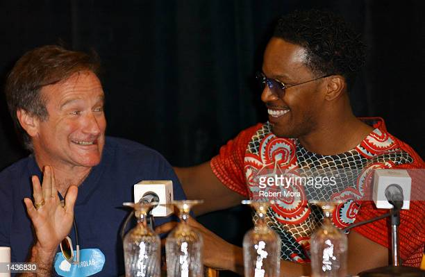 Actors Robin Williams and Jamie Foxx share a laugh during the press conference prior to the 7th Annual Andre Agassi Charitable Foundation's Grand...