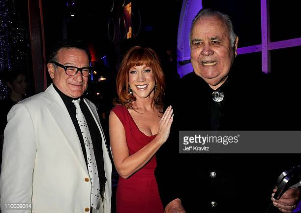 Actors Robin Williams and Kathy Griffin and honoree Jonathan Winters backstage at the 6th Annual TV Land Awards held at Barker Hangar on June 8 2008...