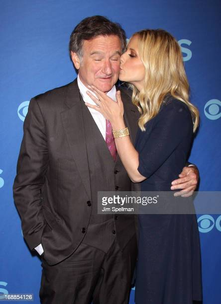 Actors Robin Williams and Sarah Michelle Gellar attend the 2013 CBS Upfront at The Tent at Lincoln Center on May 15 2013 in New York City