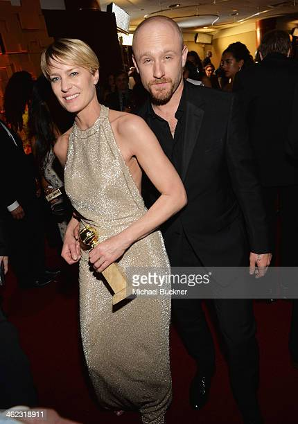 Actors Robin Wright and Ben Foster attend the 2014 InStyle And Warner Bros. 71st Annual Golden Globe Awards Post-Party at The Beverly Hilton Hotel on...