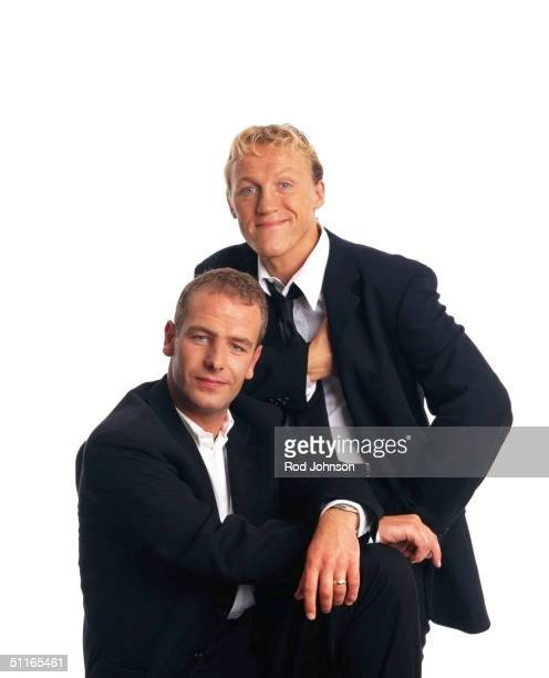 Actors Robson Green and Jerome Flynn pose at a studio session in London on August 01 1998 in London