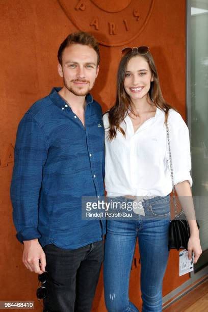 Actors Roby Schinasi and Maja Simonsen attend the 2018 French Open Day Five at Roland Garros on May 31 2018 in Paris France