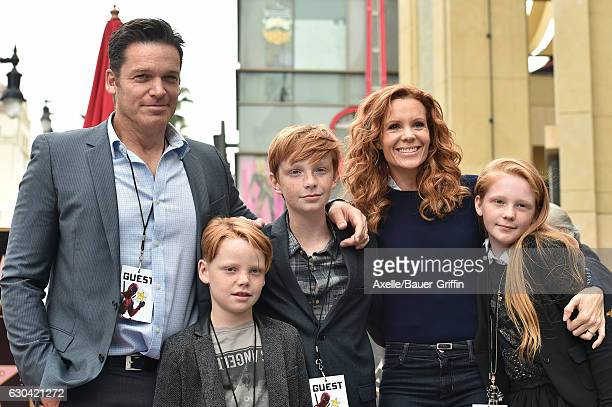 Actors Robyn Lively and Bart Johnson and family attend the ceremony honoring Ryan Reynolds with a Star on the Hollywood Walk of Fame on December 15...