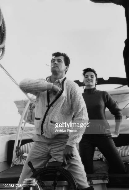 Actors Rock Hudson and Linda Cristal on board a yacht 18th February 1960