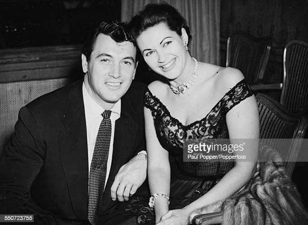 Actors Rock Hudson and Yvonne De Carlo pictured together on a night out in a London hotel August 12th 1952