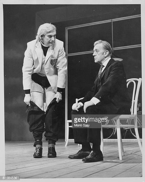 Actors Roddy Maude-Roxby and Sir Alec Guinness, on stage in the play 'Habeas Corpus', at the Lyric Theatre, London, May 9th 1973.