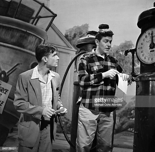 Actors Roddy McDowall and Andy Griffith performs a scene for 'No Time For Sgts' on the 'Toast of the Town' show hosted by Ed Sullivan at the Maxine...