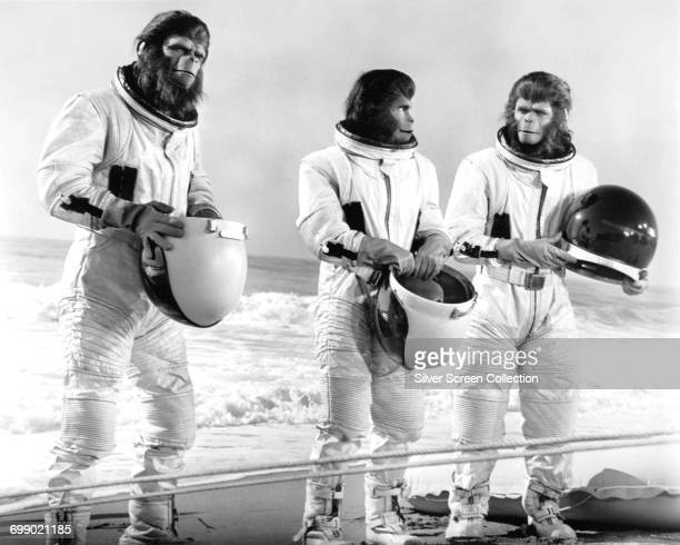 Actors Roddy McDowall as Cornelius Sal Mineo as Milo and Kim Hunter as Zira in the science fiction film 'Escape from the Planet of the Apes' 1971
