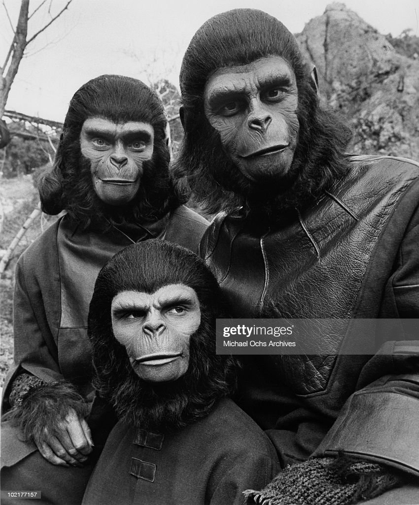 Actors Roddy McDowall, Natalie Trundy and Bobby Porter in a scene from the movie 'Battle for the Planet of the Apes' in 1973 in Los Angeles, California.