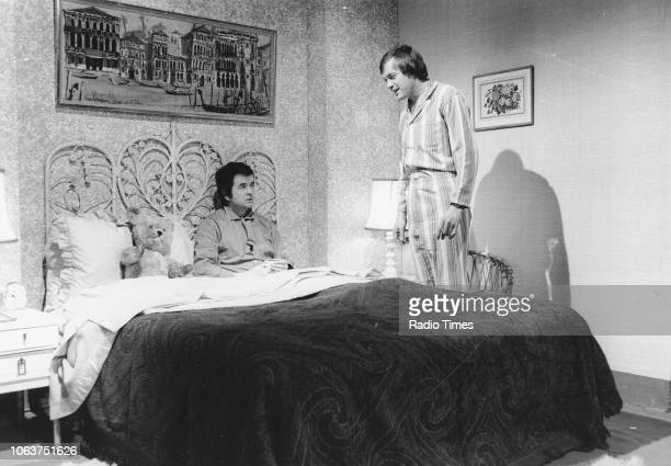 Actors Rodney Bewes and James Bolam in a bedroom scene from the television show 'Whatever Happened to the Likely Lads' January 13th 1974