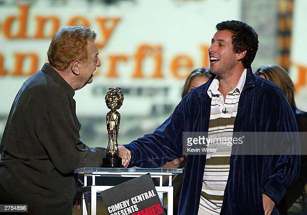 Actors Rodney Dangerfield and Adam Sandler speak on stage during Comedy Central's First Ever Awards Show The Commies held on November 22 2003 at Sony...