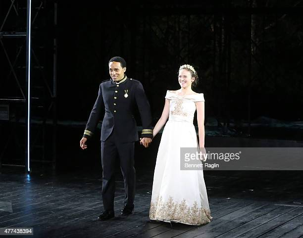Actors Rodney Richardson and Francesca Carpanini take the curtian call during The Public Theater's Opening Night Of The Tempest at Delacorte Theater...