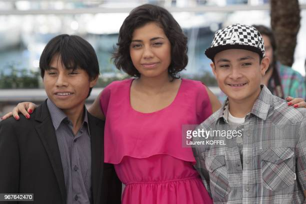 Actors Rodolfo Domingue Karen Martinez and Brandon Lopez attend the photocall for 'La Jaula De Oro' during The 66th Annual Cannes Film Festival at...