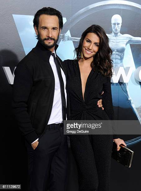 Actors Rodrigo Santoro and wife Mel Fronckowiak arrive at the premiere of HBO's 'Westworld' at TCL Chinese Theatre on September 28 2016 in Hollywood...