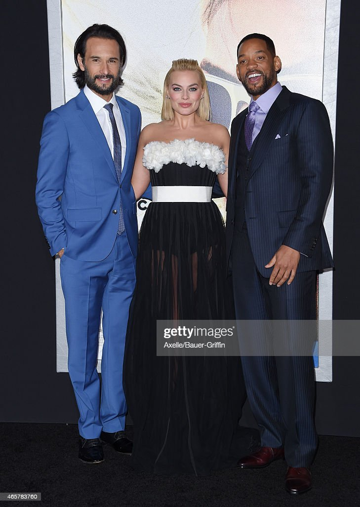 Actors Rodrigo Santoro, Margot Robbie and Will Smith arrive at the Los Angeles World Premiere of Warner Bros. Pictures 'Focus' at TCL Chinese Theatre on February 24, 2015 in Hollywood, California.