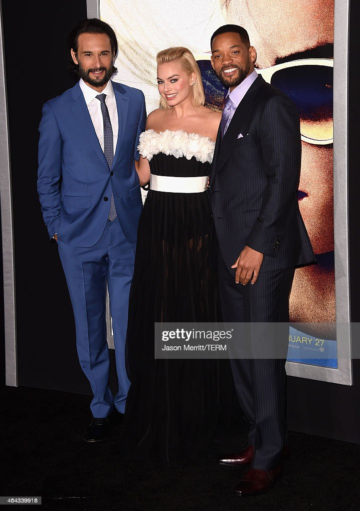 Actors Rodrigo Santoro, Margot Robbie and Will Smith attend the Warner Bros. Pictures' 'Focus' premiere at TCL Chinese Theatre on February 24, 2015 in Hollywood, California.