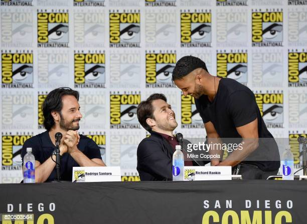 Actors Rodrigo Santoro Richard Rankin and Ricky Whittle speak onstage at ComicCon International 2017 Brave New Warriors panel at San Diego Convention...