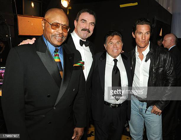Actors Roger E Mosley Tom Selleck Larry Manetti of Magnum PI and actor Matthew McConaughey attend the 7th Annual TV Land Awards held at Gibson...