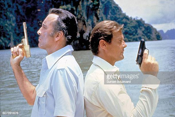 Actors Roger Moore and Christopher Lee on the set of 'The Man With The Golden Gun'