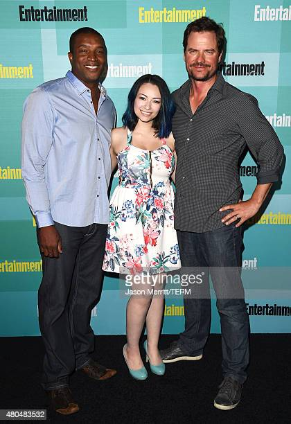 Actors Roger R Cross Jodelle Ferland and Anthony Lemke attend Entertainment Weekly's Annual ComicCon Party in celebration of ComicCon 2015 at FLOAT...