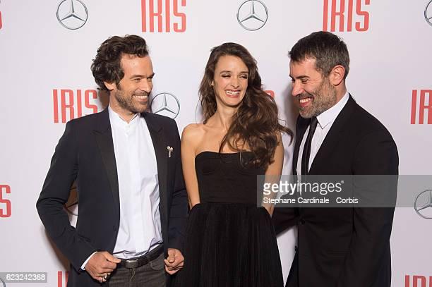 Actors Romain Duris Charlotte Le Bon and director Jalil Lesper attend the 'Iris' Paris Premiere at Gaumont Champs Elysees on November 14 2016 in...