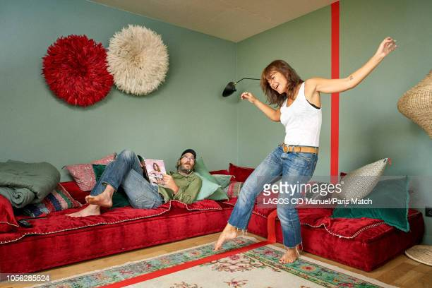 Actors Romane Bohringer and Philippe Rebbot are photographed for Paris Match at home on September 28 2018 in Montreuil France