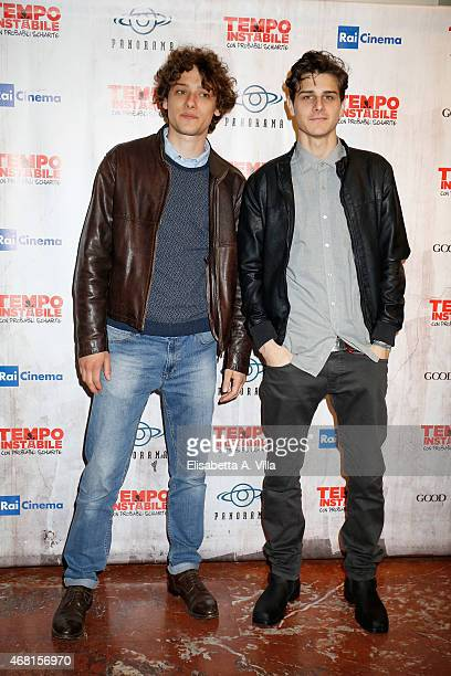 Actors Romano Reggiani and Andrea Arcangeli attend 'Tempo Instabile Con Probabili Schiarite' Screening at Cinema Barberini on March 30 2015 in Rome...