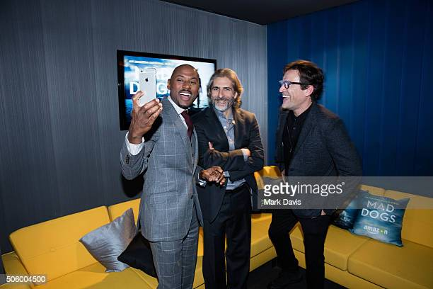 Actors Romany Malco Michael Imperioli and Ben Chaplin attend the premiere screening of Amazon original series 'Mad Dogs' at Pacific Design Center on...