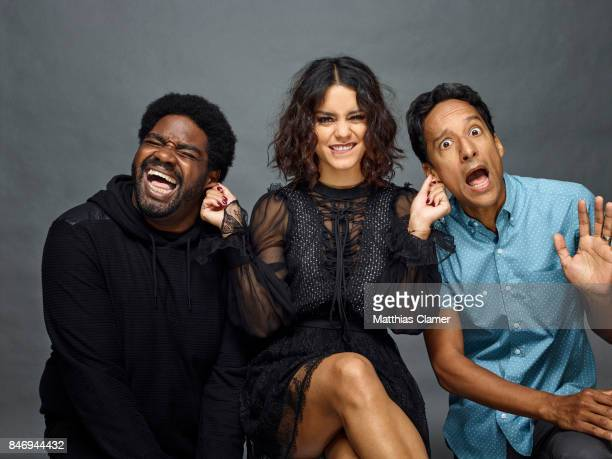 Actors Ron Funches Vanessa Hudgens and Danny Pudi from 'Powerless' are photographed for Entertainment Weekly Magazine on July 22 2016 at Comic Con in...