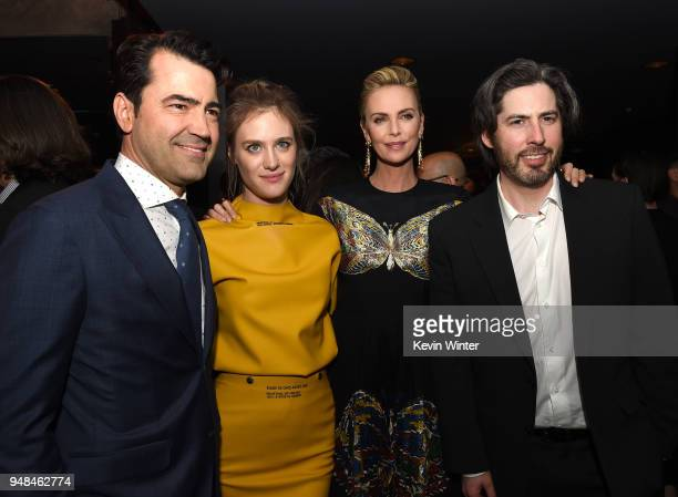 Actors Ron Livingston Mackenzie Davis Charlize Theron and director Jason Reitman pose at the after party for the premiere of Focus Features' 'Tully'...