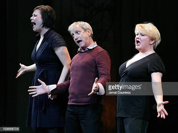 Actors Ron Palillo Charis Leos and Jessica Carter perform Adelaide's Lament during the 2009 Broadway Backwards at the American Airlines Theatre on...