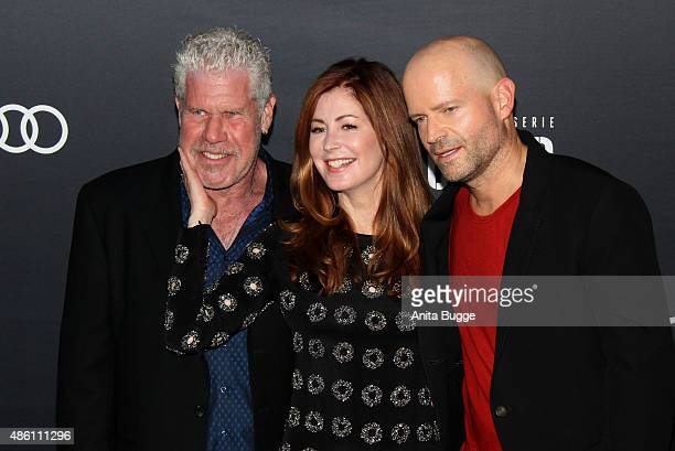 Actors Ron Pearlman and Dana Delany and director Marc Forster attend the 'Hand of God' Germany premiere at Französischen Friedrichstadtkirche on at...