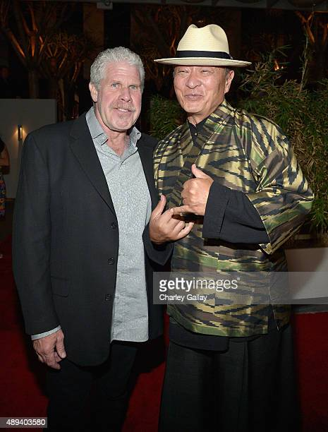 Actors Ron Perlman and CaryHiroyuki Tagawa attend Amazon Prime's Emmy Celebration at The Standard Hotel on September 20 2015 in Los Angeles California