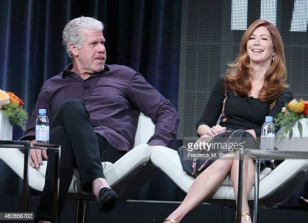 Actors Ron Perlman and Dana Delany speak onstage during the 'Hand Of God' panel discussion at the Amazon Studios portion of the 2015 Summer TCA Tour...