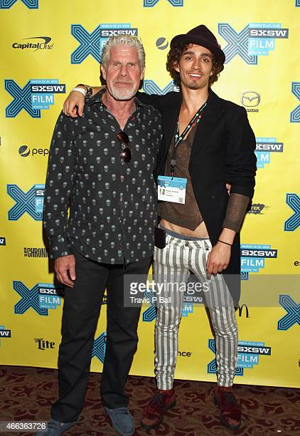 Actors Ron Perlman and Robert Sheehan attend the premiere of Moonwalkers during the 2015 SXSW Music Film Interactive Festival at Alamo Ritz on March...