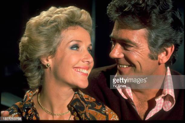 Actors Ronald Allen and Justine Lord in character as David Hunter and Kelly in television soap Crossroads, circa 1976.