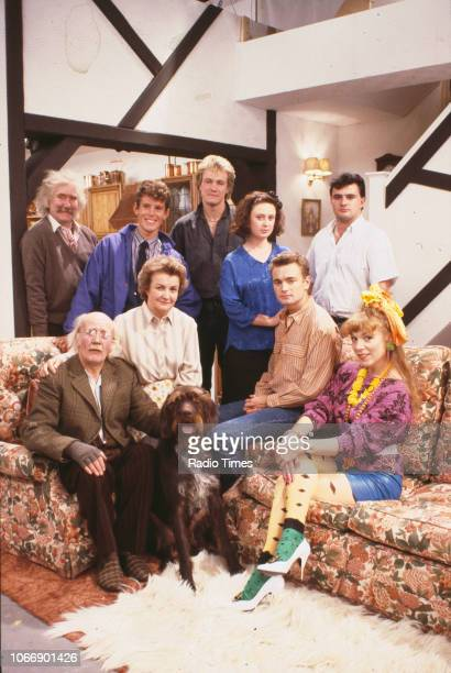 Actors Ronald Forfar Jonathan Morris Peter Howlit Hilary Crowson and Victor McGuire with Kenneth Waller Jean Boht Nick Conway and Gilly Coman on the...
