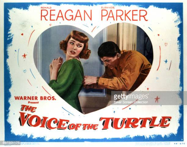 Actors Ronald Reagan as Sergeant Bill Page and Eleanor Parker as Sally Middleton on a poster for the Warner Bros comedy film 'The Voice of the...