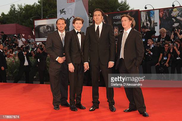 Actors Ronie Gene Blevins Tye Sheridan Nicolas Cage and Director David Gordon Green attend 'Joe' Premiere during The 70th Venice International Film...
