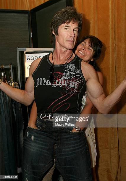 Actors Ronn Moss and Devin Devasquez pose in the Daytime Emmy official gift lounge produced by On 3 Productions held at The Orpheum Theatre on August...