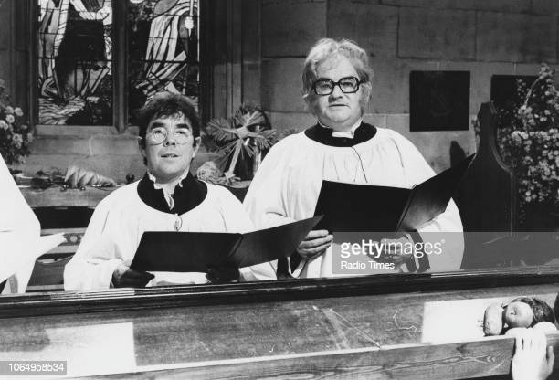 Actors Ronnie Barker and Ronnie Corbett in a church choir sketch from the television comedy series 'The Two Ronnies' October 15th 1978