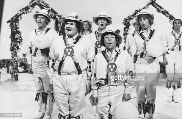 Actors Ronnie Barker and Ronnie Corbett in a morris dancing sketch from the television comedy series 'The Two Ronnies' July 11th 1976