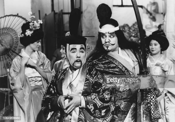 Actors Ronnie Barker and Ronnie Corbett in the 'Kami Kazi' sketch from the television comedy series 'The Two Ronnies' November 5th 1978