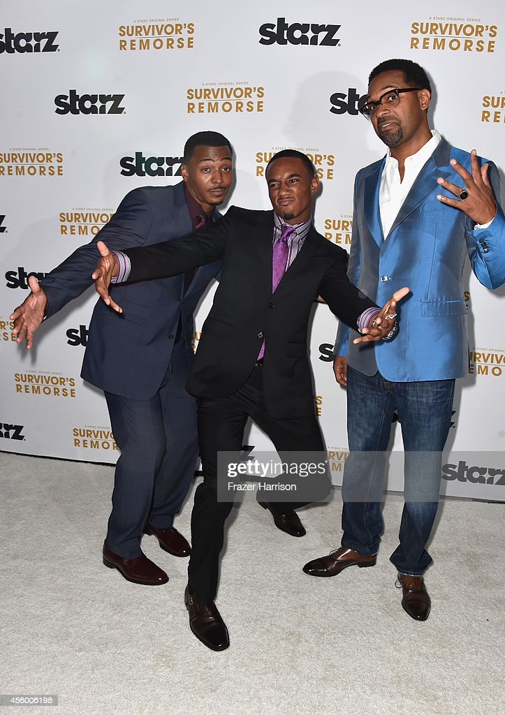 Actors RonReaco Lee, Jessie T.Usher, Mike Epps arrive at the Premiere Of Starz 'Survivor's Remorse' at Wallis Annenberg Center for the Performing Arts on September 23, 2014 in Beverly Hills, California.