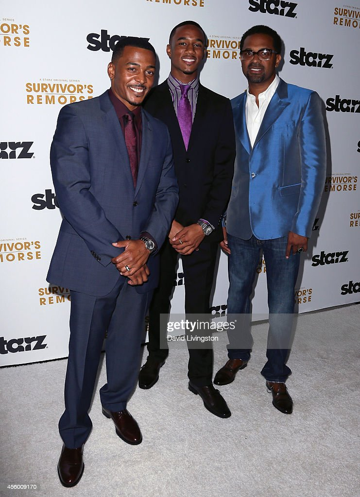 Actors RonReaco Lee, Jessie Usher and Mike Epps attend the premiere of Starz 'Survivor's Remorse' at the Wallis Annenberg Center for the Performing Arts on September 23, 2014 in Beverly Hills, California.