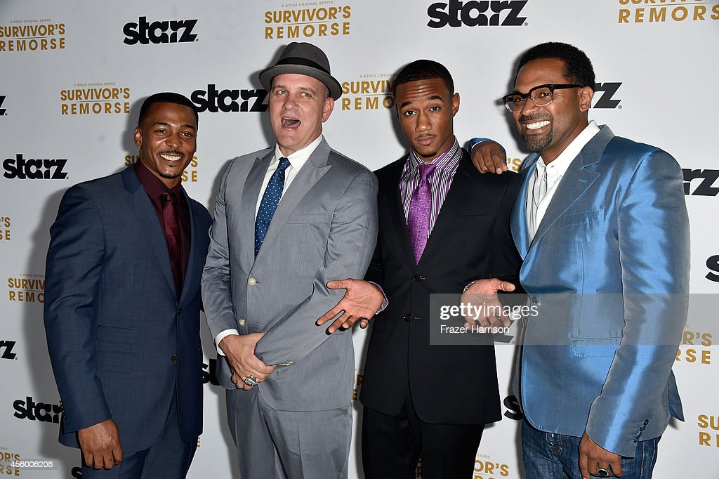 Actors RonReaco Lee, Mike O'Malley, Jessie T.Usher, Mike Epps arrive at the Premiere Of Starz 'Survivor's Remorse' at Wallis Annenberg Center for the Performing Arts on September 23, 2014 in Beverly Hills, California.