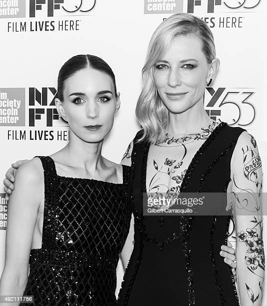 Actors Rooney Mara and Cate Blanchett attend 53rd New York Film Festival 'Carol' at Alice Tully Hall on October 9 2015 in New York City
